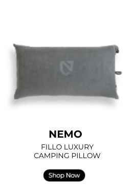 NEMO Fillo Luxury camp pillow with a shop now button.
