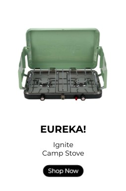 Eureka! Ignite camp stove with a shop now button.
